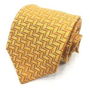 TED BAKER London Yellow Geometric 100% Silk Tie